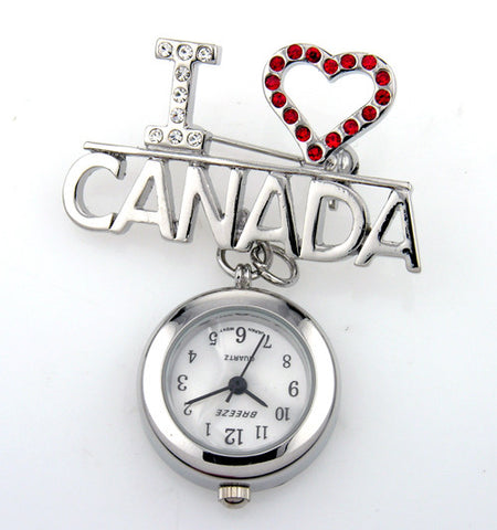 metallic fob watch - i love canada
