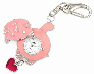 novelty fob watch - pink cat