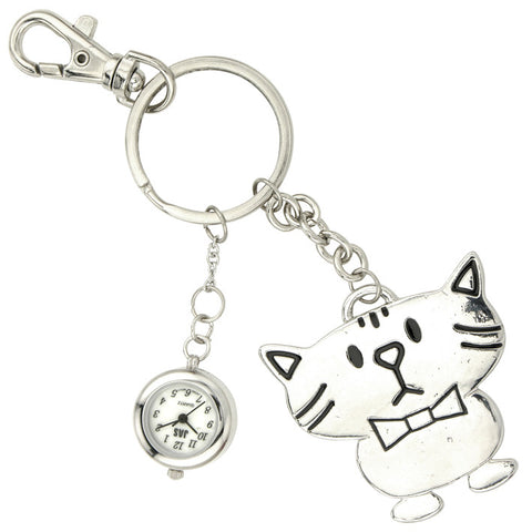 novelty fob watch - silver cat