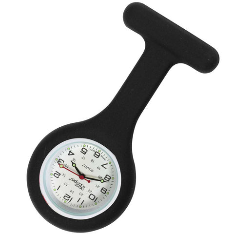 Silicone Pin-on Nurse Watch - Round Black