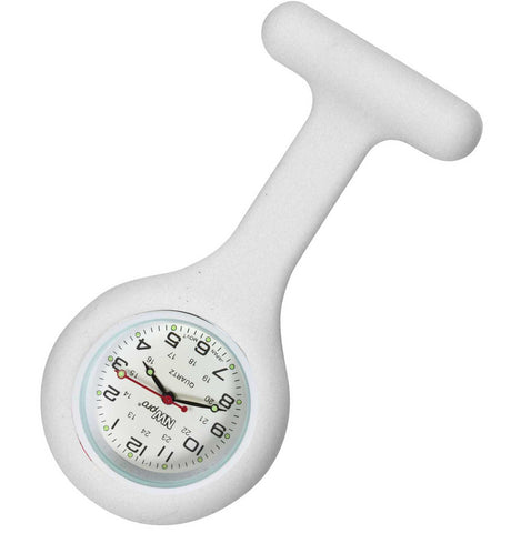 Silicone Pin-on Nurse Watch - Round White