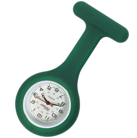 Silicone Pin-on Nurse Watch - Round Forest Green