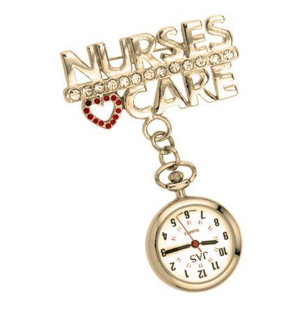Metallic Pin-on Nurse Watch - Nurses Care - Gold Tone