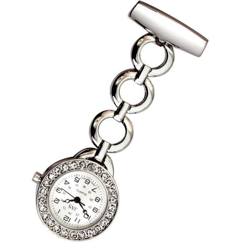 Metallic Pin-on Nurse Watch - Hooped Link with Stones - Silver
