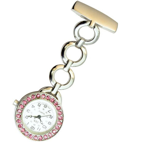 Metallic Pin-on Nurse Watch - Hooped Link with Stones - Silver with Pink Stones