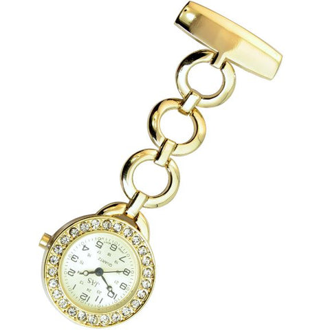 Metallic Pin-on Nurse Watch - Hooped Link with Stones - Gold