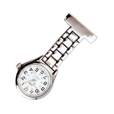 Metallic Pin-on Nurse Watch - Linked - Silver with White Dial