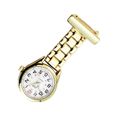 Metallic Pin-on Nurse Watch - Linked - Gold with White Dial