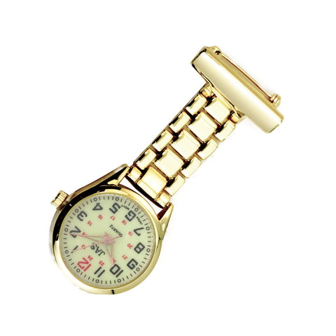 Metallic Pin-on Nurse Watch - Linked - Gold with Luminous Dial