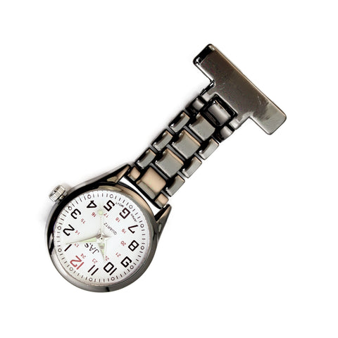 Metallic Pin-on Nurse Watch - Linked - Gunmetal with White Dial