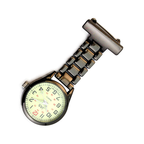 Metallic Pin-on Nurse Watch - Linked - Gunmetal with Luminous Dial