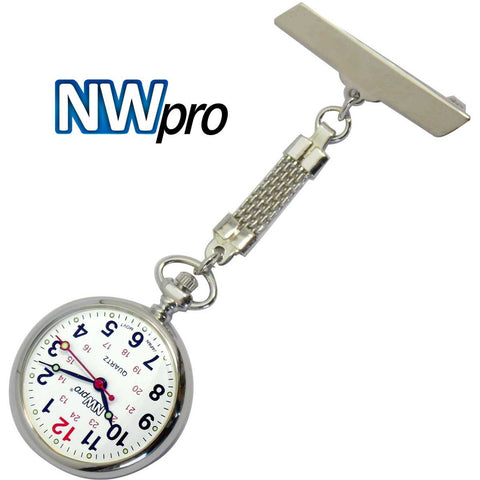 NW-Pro Lapel Nurse Watch - Large White Dial - Water Resistant - Braided - Silver Tone