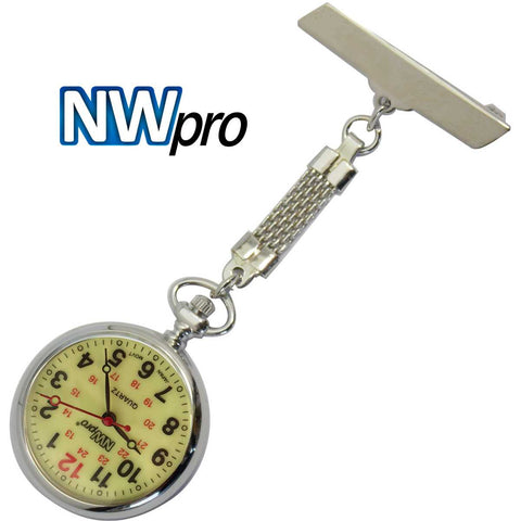 NW-Pro Lapel Nurse Watch - Large Glow-in-the-Dark Dial - Water Resistant - Braided - Silver Tone