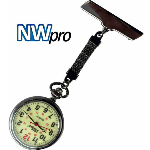 NW-Pro Lapel Nurse Watch - Large Glow-in-the-Dark Dial - Water Resistant - Braided - Gunmetal