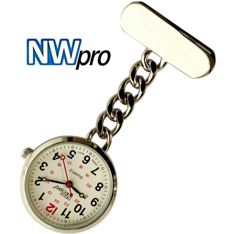 NW-Pro Lapel Nurse Watch - White Dial - Water Resistant - Chained - Silver