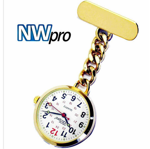 NW-Pro Lapel Nurse Watch - Large White Dial - Water Resistant - Chained - Gold Tone