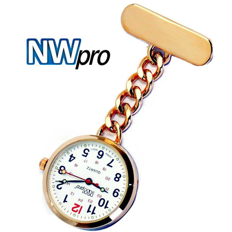 NW-Pro Lapel Nurse Watch - Large White Dial - Water Resistant - Chained - Rose Gold Tone