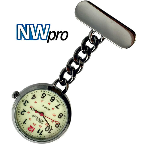 NW-Pro Lapel Nurse Watch - Large Glow-in-the-Dark Dial - Water Resistant - Chained - Gunmetal