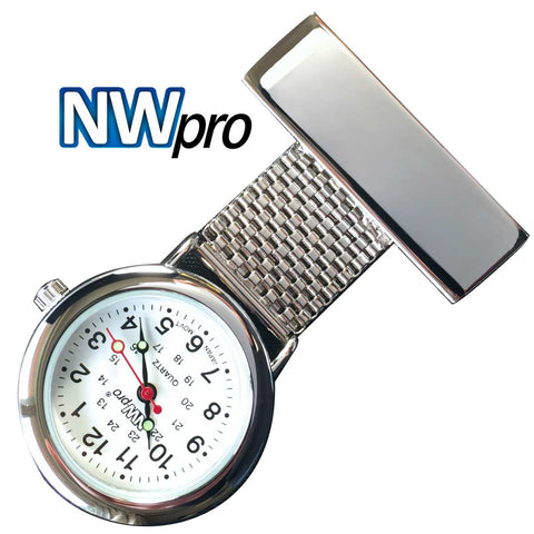 NW-Pro Lapel Nurse Watch - White Dial - Water Resistant - Wide Braid - Silver Tone