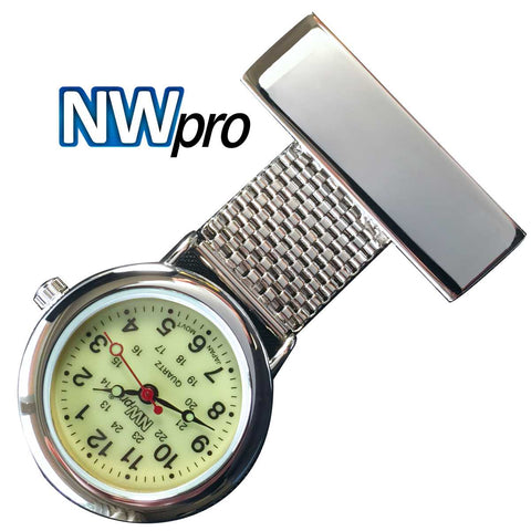 NW-Pro Lapel Nurse Watch - Glow-in-the-Dark Dial - Water Resistant - Wide Braid - Silver Tone