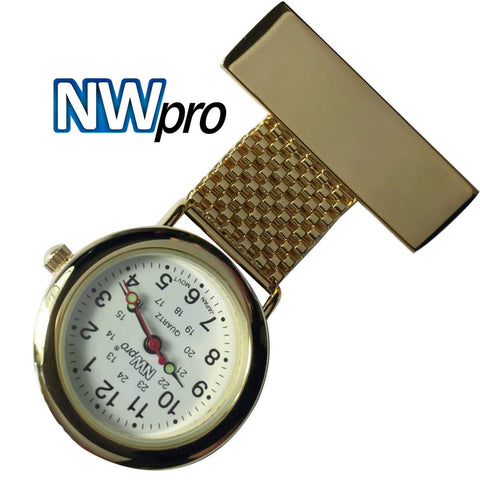 NW-Pro Lapel Nurse Watch - White Dial - Water Resistant - Wide Braid - Gold
