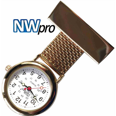 NW-Pro Lapel Nurse Watch - White Dial - Water Resistant - Wide Braid - Rose Gold