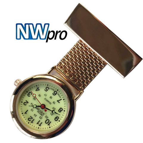 NW-Pro Lapel Nurse Watch - Glow-in-the-Dark Dial - Water Resistant - Wide Braid - Rose Gold