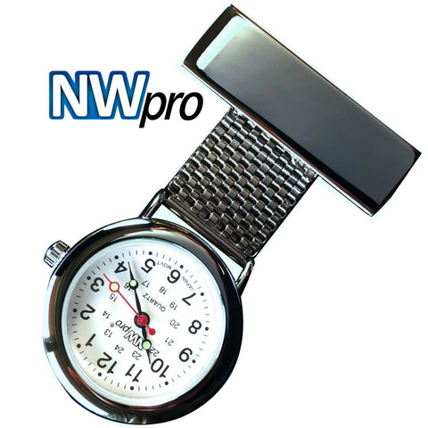 NW-Pro Lapel Nurse Watch - White Dial - Water Resistant - Wide Braid - Gunmetal