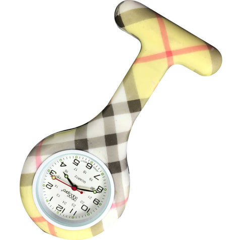 Silicone Pin-on Nurse Watch - Yellow Plaid