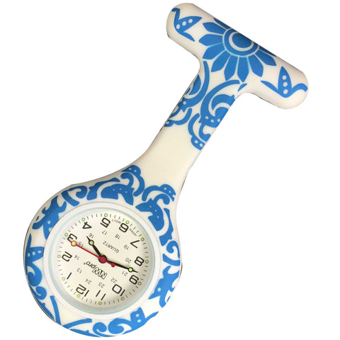 Silicone Pin-on Nurse Watch - Brocade Blue
