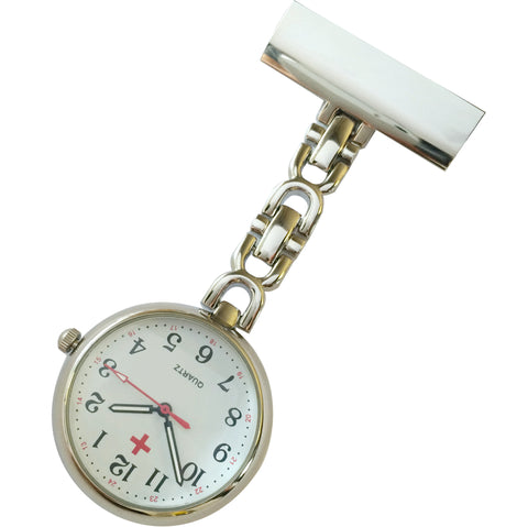 Metallic Pin-on Nurse Watch - D Link - Silver with White Dial