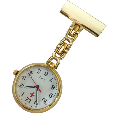 Metallic Pin-on Nurse Watch - D Link - Gold with White Dial