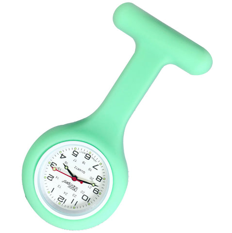 Silicone Pin-on Nurse Watch - Round Mint