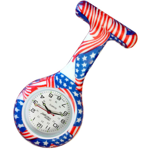 Silicone Pin-on Nurse Watch - USA Flag