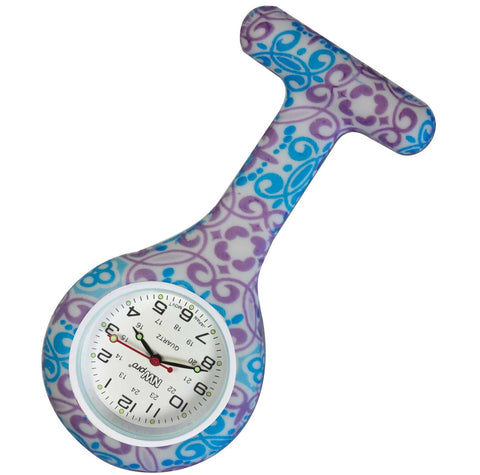 Silicone Pin-on Nurse Watch - Royal Tapestry
