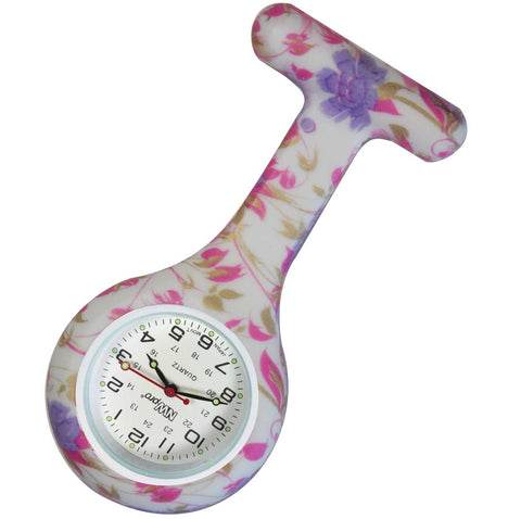Silicone Pin-on Nurse Watch - Watercolor Flowers