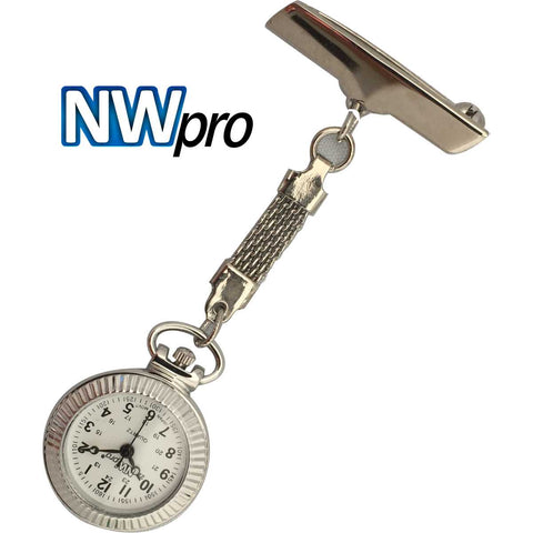 NW-Pro Lapel Nurse Watch - White Dial - Water Resistant - Braided - Silver Tone