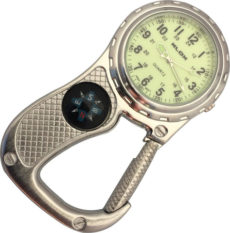 Clip Watch with Compass - Antique Silver with glow-in-the-dark dial
