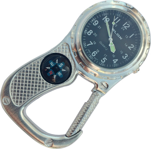 Clip Watch with Compass - Antique Silver with black dial