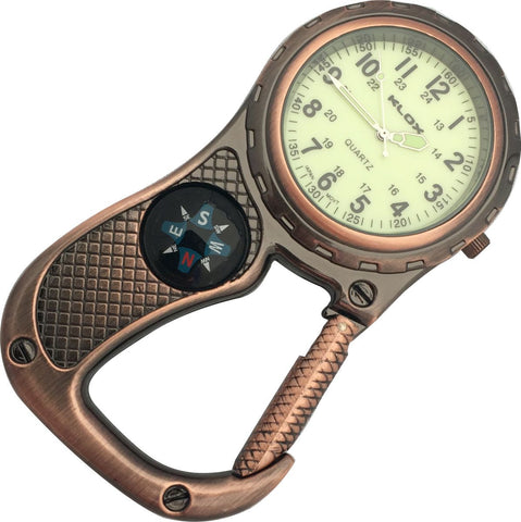 Clip Watch with Compass - Antique Copper with glow-in-the-dark dial