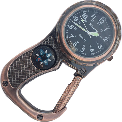 Clip Watch with Compass - Antique Copper with black dial