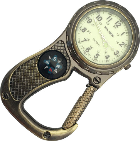 Clip Watch with Compass - Antique Brass with glow-in-the-dark dial