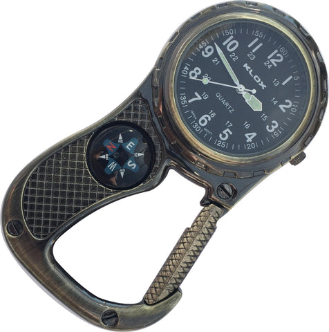 Clip Watch with Compass - Antique Brass with black dial