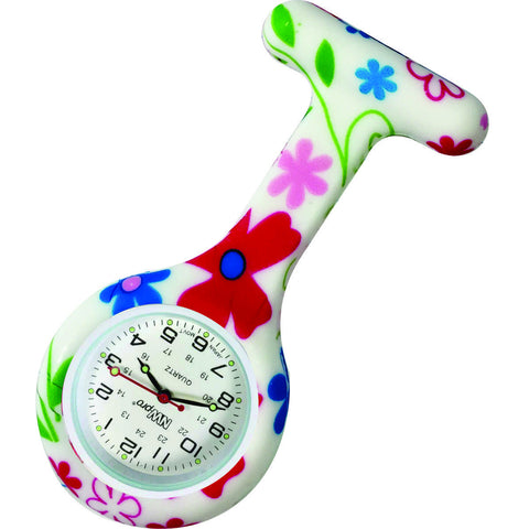 Silicone Pin-on Nurse Watch - Funky Flower