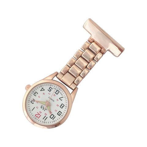 Metallic Pin-on Nurse Watch - Linked - Rose Gold with White Dial
