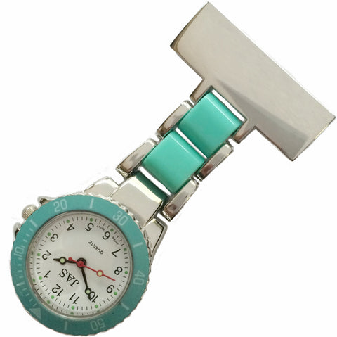 Metallic Pin-on Nurse Watch - Linked Silver -Teal