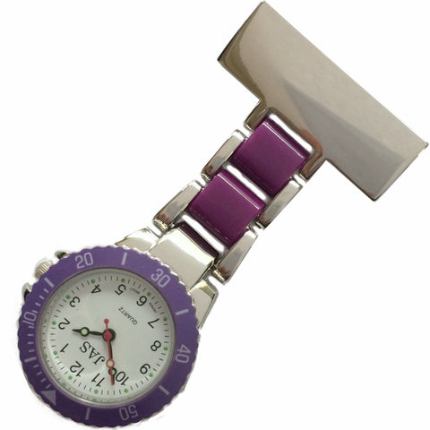 Metallic Pin-on Nurse Watch - Linked Silver -Purple
