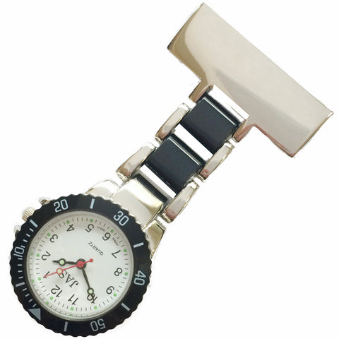 Metallic Pin-on Nurse Watch - Linked Silver -Black