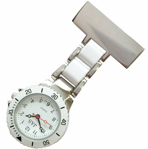 Metallic Pin-on Nurse Watch - Linked Silver -White