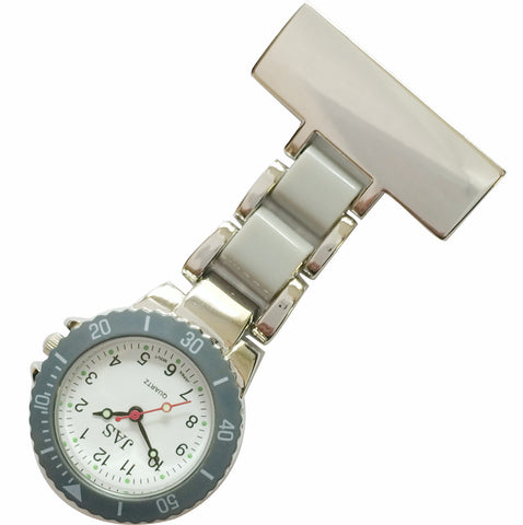 Metallic Pin-on Nurse Watch - Linked Silver -Gray